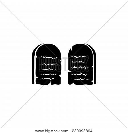 Stone Tablets. Ten Commandments Black On White Background