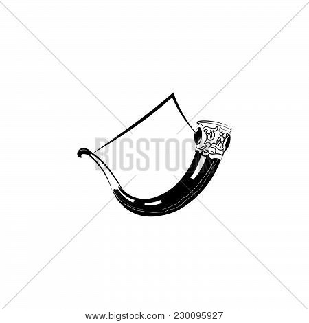 Horn. Drinking Horn Black On White Background
