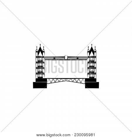 Tower Bridge. London Bridge Black On White Background