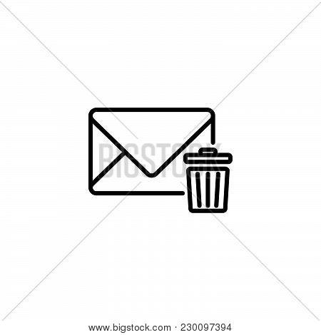 Web Line Icon. Delete Message Black On White Background