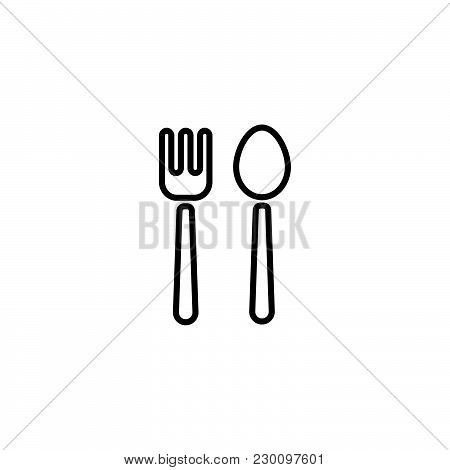 Web Line Icon. Cutlery (fork And Spoon)