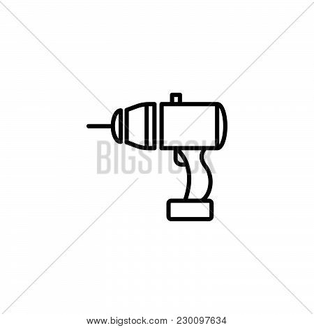 Web Line Icon. Electric Screwdriver Black On White Background