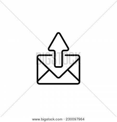 Web Line Icon. Outgoing Message Black On White Background