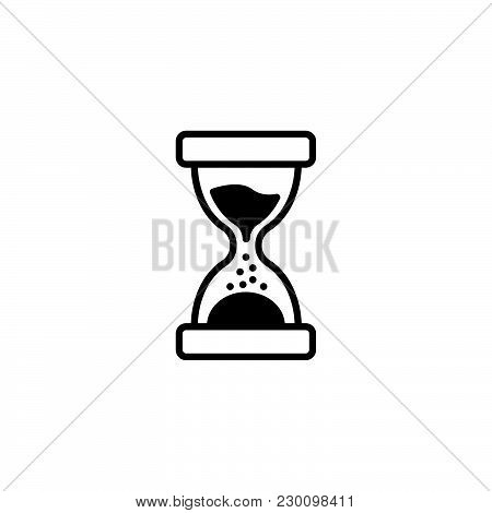 Web Line Icon. Hourglass Black On White Background