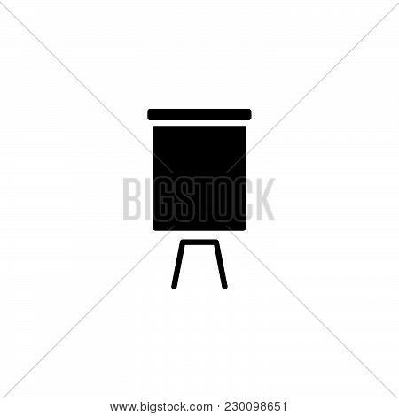 Web Line Icon. Flipchart, Graph Black On White Background