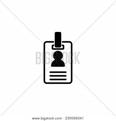 Web Line Icon. Business; Blank Id Cards With Clasp  (badge)