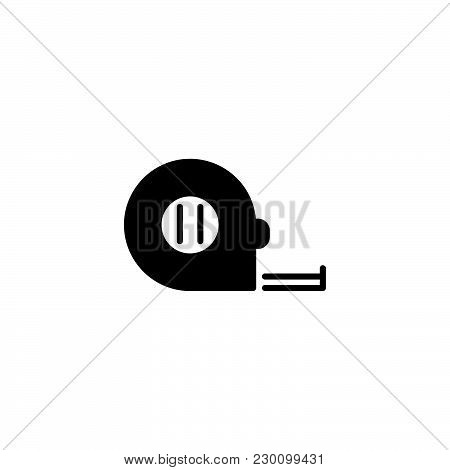 Web Line Icon. Tape Measure Black On White Background