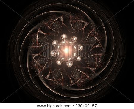 Colorful Glowing Neuron Fractal On Black Background