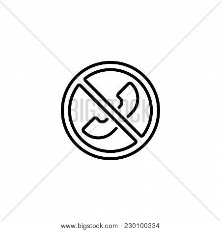 Web Icon. Forbidden Call, Calls Banned Black On White Background