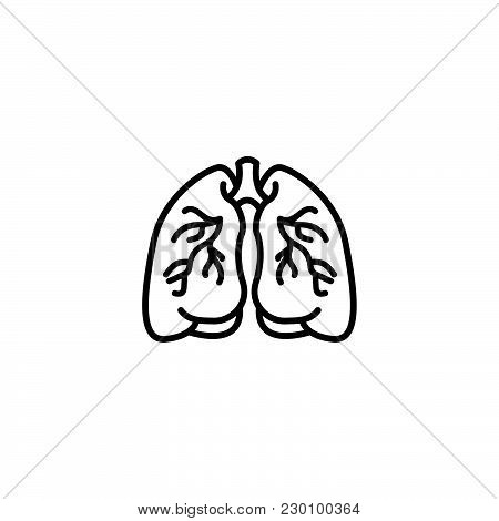 Web Line Icon. Lungs Black On White Background