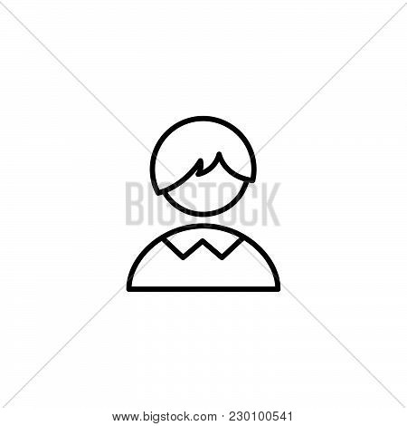 Web Line Icon. Schoolboy, Boy Black On White Background