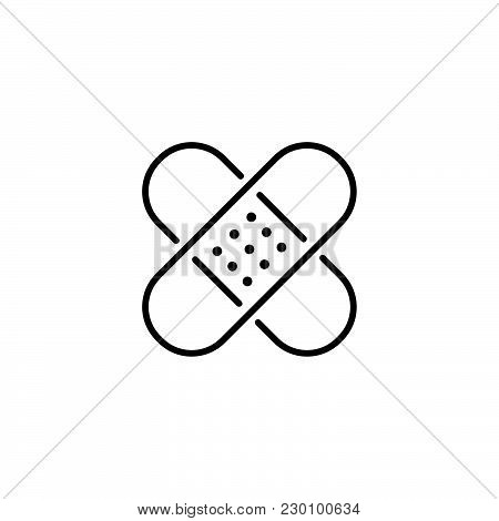 Web Line Icon. Adhesive Plaster Black On White Background