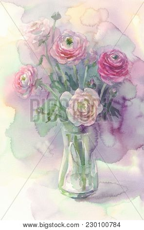 Rosy Flowers In Vase Watercolor, Light Background. Spring Illustration.