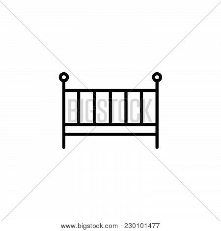 Web Line Icon. Crib Black On White Background