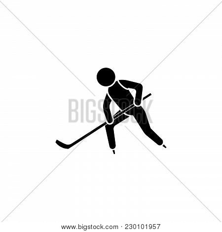 Vector Illustration. Hockey Player Icon White On A Black Background