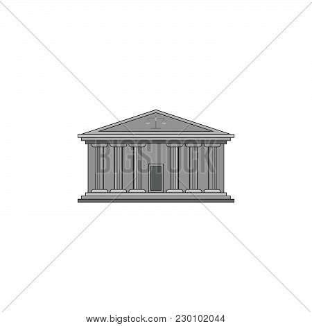 Color Vector Image. Court Building With Columns