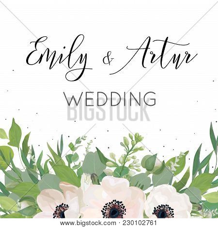 Vector Floral Wedding Invite, Invitation, Save The Date Card Design With Watercolor Mauve Pink Anemo