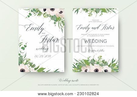 Vector Floral Wedding Double Invite, Invitation, Save The Date Card Design With Mauve Pink Anemones,