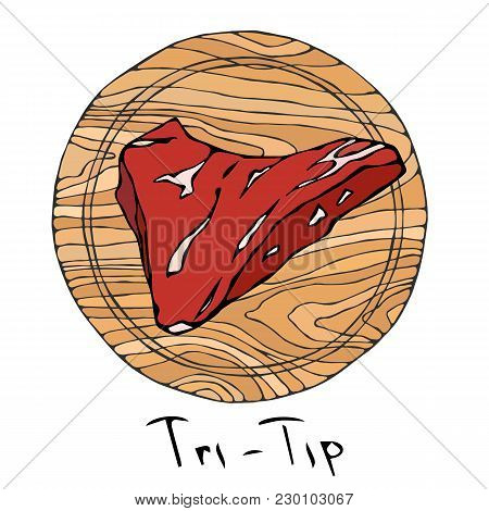 Most Popular Steak Tri-tip On A Round Wooden Cutting Board. Beef Cut. Meat Guide For Butcher Shop Or