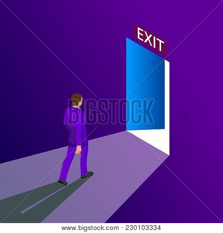 Businessman Going Exit Door Sign, Emergency. Business Solution Or Exit Strategy Concept. Leaving The