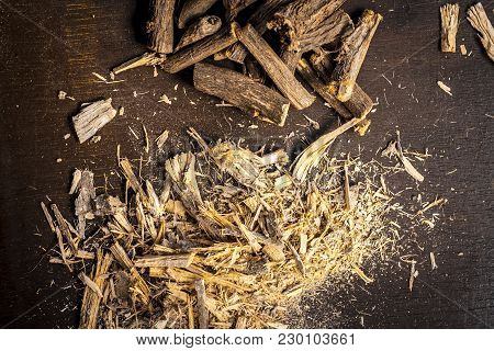 Close Up Of Ayurvedic Herb Liquorice Root,licorice Root, Mulethi Or Glycyrrhiza Glabra Root And Its