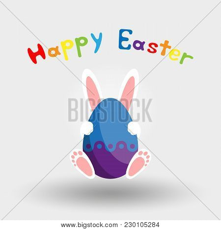 Easter Bunny With Egg. Happy Easter. Icon For Web And Mobile Application. Vector Illustration On A W