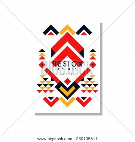 Ethno Card Template Abstract Design, Ethnic Tribal Geometric Ornament, Trendy Pattern Element For Bu