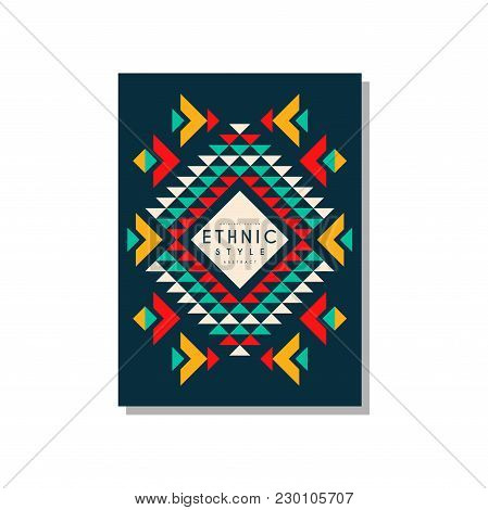 Ethnic Style Card Template Abstract Design, Ethno Tribal Geometric Ornament, Trendy Pattern Element