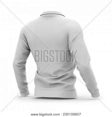 Men's white zip neck pullover with raglan sleeves, rubber cuffs and collar. 3d rendering. Clipping paths included: whole object, collar, sleeve, zipper. Half-back view. poster
