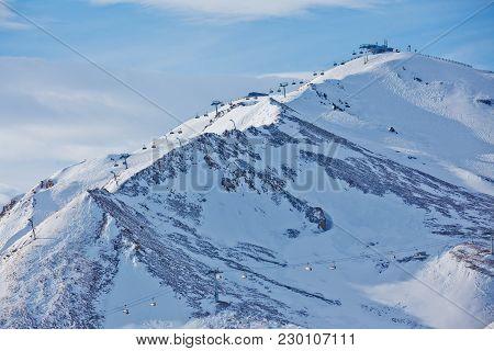 Ski Chair Lift At Alps Ski Resort