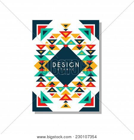 Design Ethnic Style Card Temlate, Colorful Ethno Tribal Geometric Ornament, Trendy Pattern Element F