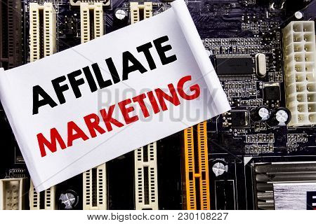 Word, Writing Affiliate Marketing. Business Concept For Internet Online Written On Sticky, Computer