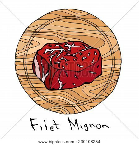 Most Popular Steak Filet Mignon On A Round Wooden Cutting Board. Beef Cut. Meat Guide For Butcher Sh