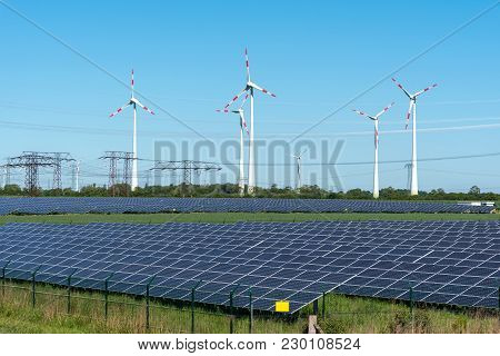 Renewable Energy Generation And Power Transmission Lines Seen In Germany