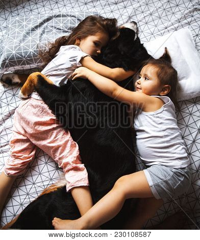 Little Girls Sleeping In The Bed With Her Dog A