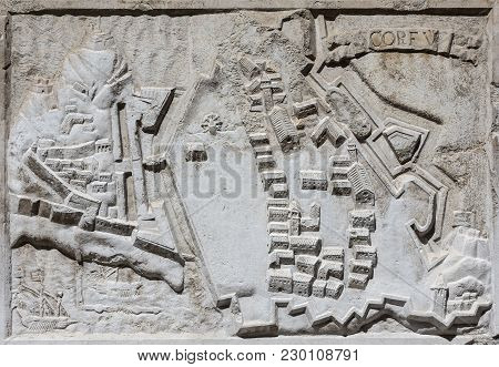 Ancient Map Of The Walled City Of Corfu In The Ionian Island (greece), An Old Venetian Fortress On A