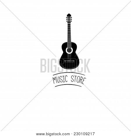 Guitar Icon. Acoustic Musical Instrument Sign. Vector Illustration Isolated On White Background. Mus