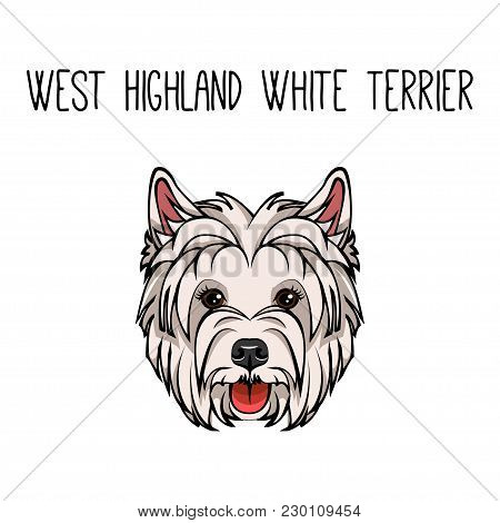 Vector Dog West Highland White Terrier Face Icon Flat Design. Vector Illustration Isolated On White