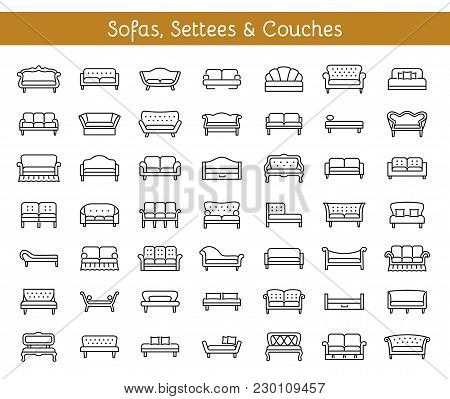 Sofas & Couches. Living Room & Patio Furniture. Different Kinds Of Classic And Modern Settees, Loves