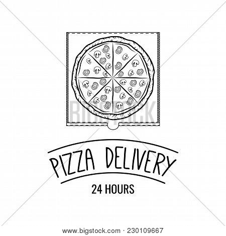 Cartoon Style Doodle Hot Pizza In The Box. Pizza Delivery. Vector Illustration. . Fast Food Delivery