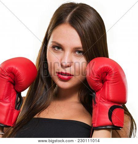 Female Model Wearing Boxing Gloves Isolated On White Background