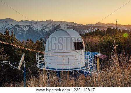 Small Astronomical Observatory With Telescope In Caucasian Mountains At The Sunset.