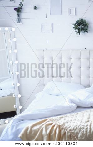 Interior With Bed Spread Out Light Retro With Mirror