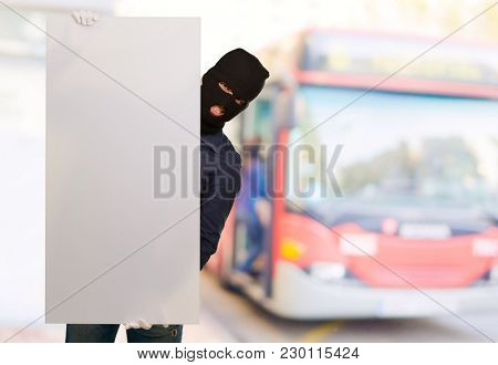 Burglar Man Holding Blank Placard, Outdoors