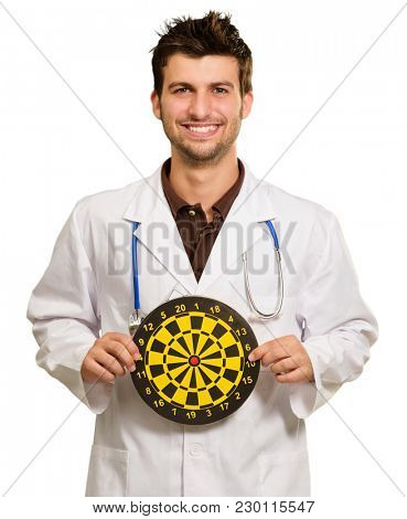 Happy Young Doctor Holding Bulls Eye On White Background