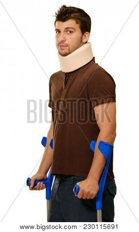 Man Walking On Crutches With Neck Brace Isolated On White Background
