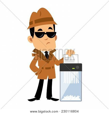 Vector Drawing Of A Detective, He Is Destroying A Document In A Paper Shredder