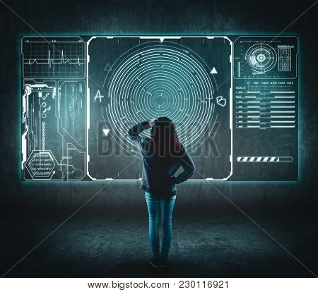 Confused Woman In Front Of Digital Screen, Display A Maze Of Point A To Point B.