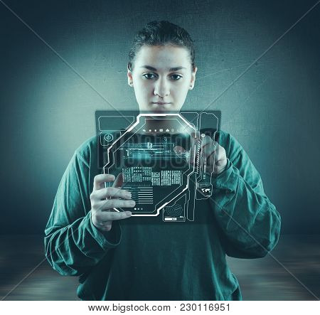 Woman Access Her Account On Digital Tablet.
