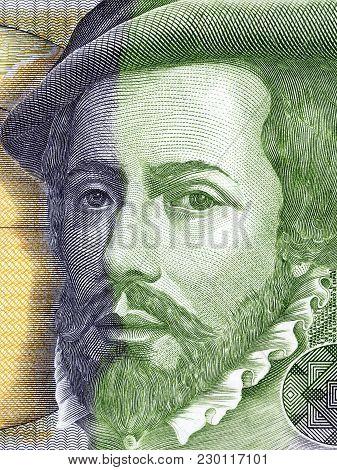 Hernan Cortes Portrait From Spanish Money - Pesetas